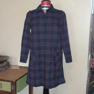 Uniqlo plaid long sleeve shirt dress sz S